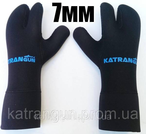 Рукавицы для подводной охоты KatranGun Hunter 7 мм; нейлон/открытая пора; защита на ладони дюратекс