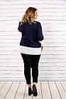 Синя блуза великого розміру 42-74.   0676-3, фото 4