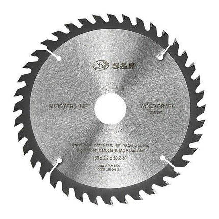 Диск пильный S&R Meister Wood Craft 185x30/25,4/20x2,2 мм, фото 2