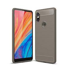 Чехол накладка силиконовый SK Fiber Carbon для Xiaomi Mi Mix 2s серый
