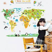 """Наклейка на стену в детский сад, в школу, офис """"карта мира: флора и фауна, мир зверей"""" 110см*88см(лист60*90см)"""