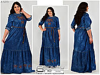 Джинсовое женское платье с вышивкой размер 42-52