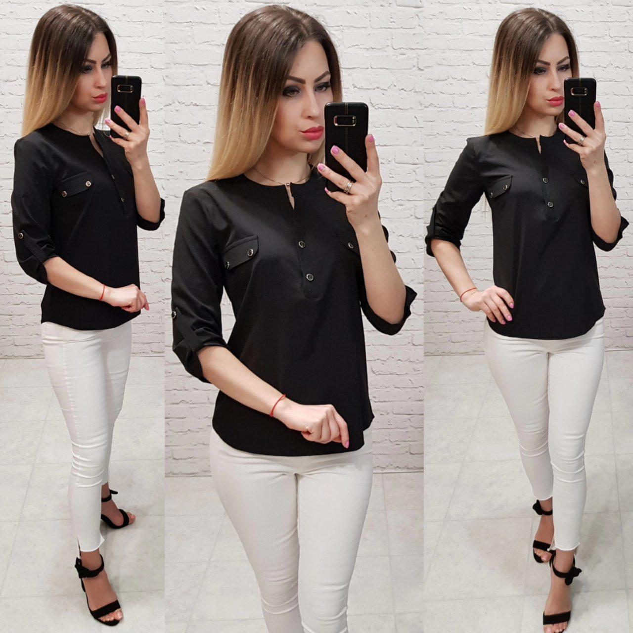 Блузка женская арт 829, цвет черный