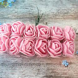 Розы из фоамирана с фатином .Цвет-розовый,диаметр 20 мм.(цена за пучок 12 шт)