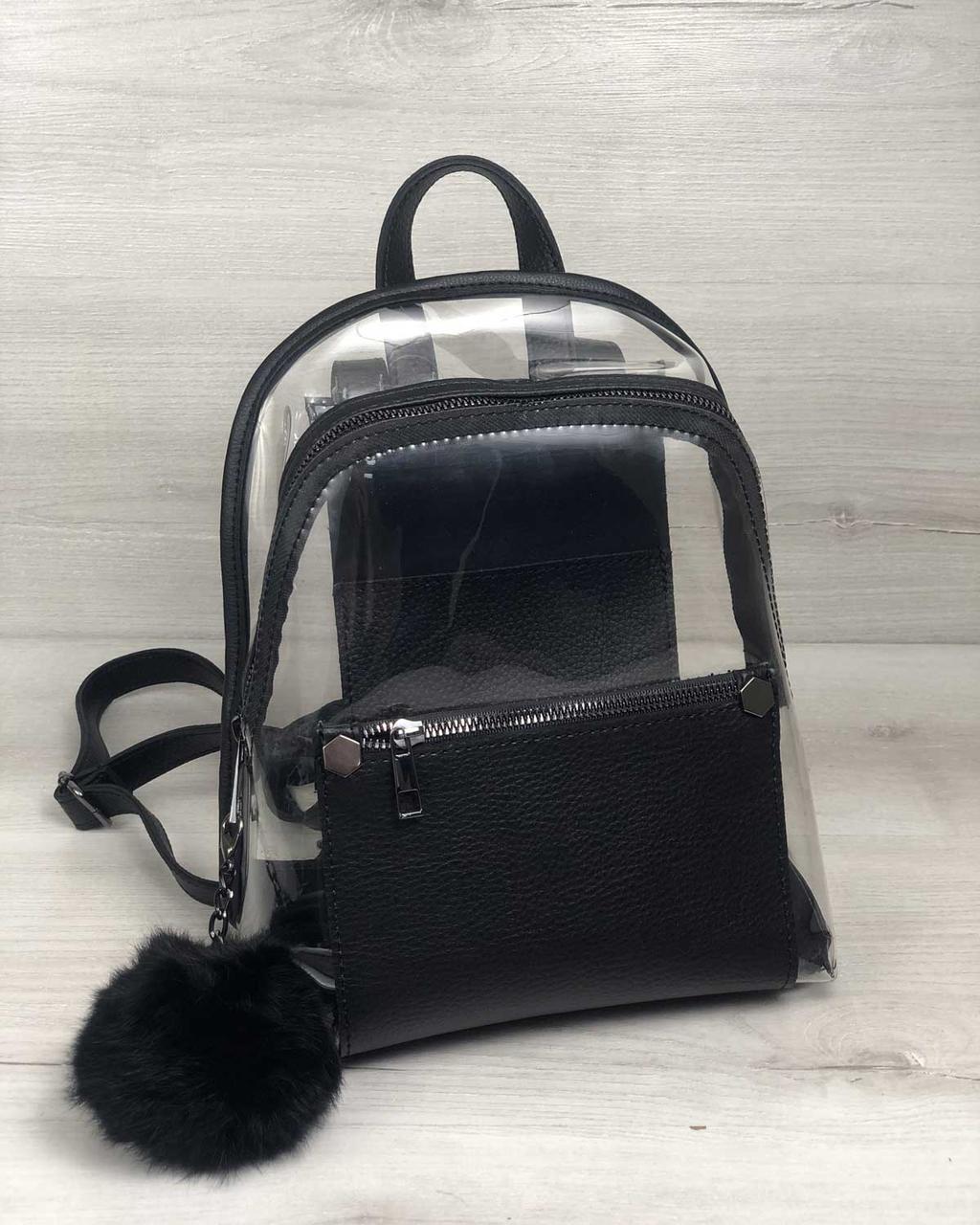 Женский рюкзак Бонни силикон с черным