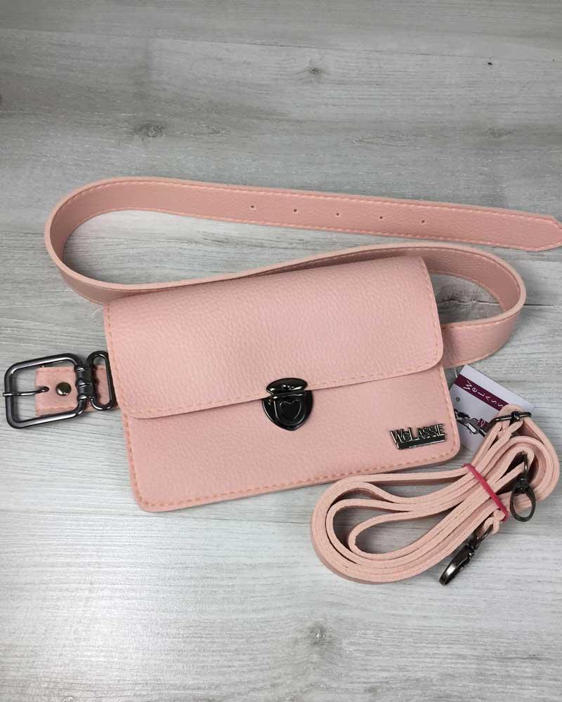 Женская сумка на пояс- клатч Арья пудрового цвета