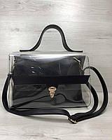 2в1 Молодежная сумка Эрика черного цвета с силиконом (прозрачная), фото 1