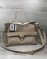 2в1 Молодежная сумка Эрика бежевого цвета с силиконом (прозрачная), фото 1