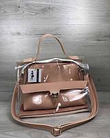 2в1 Молодежная сумка Эрика пудрового цвета с силиконом (прозрачная), фото 1