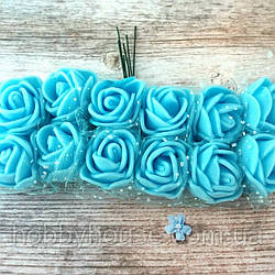Розы из фоамирана с фатином .Цвет-голубой,диаметр 20 мм.(цена за пучок 12 шт)