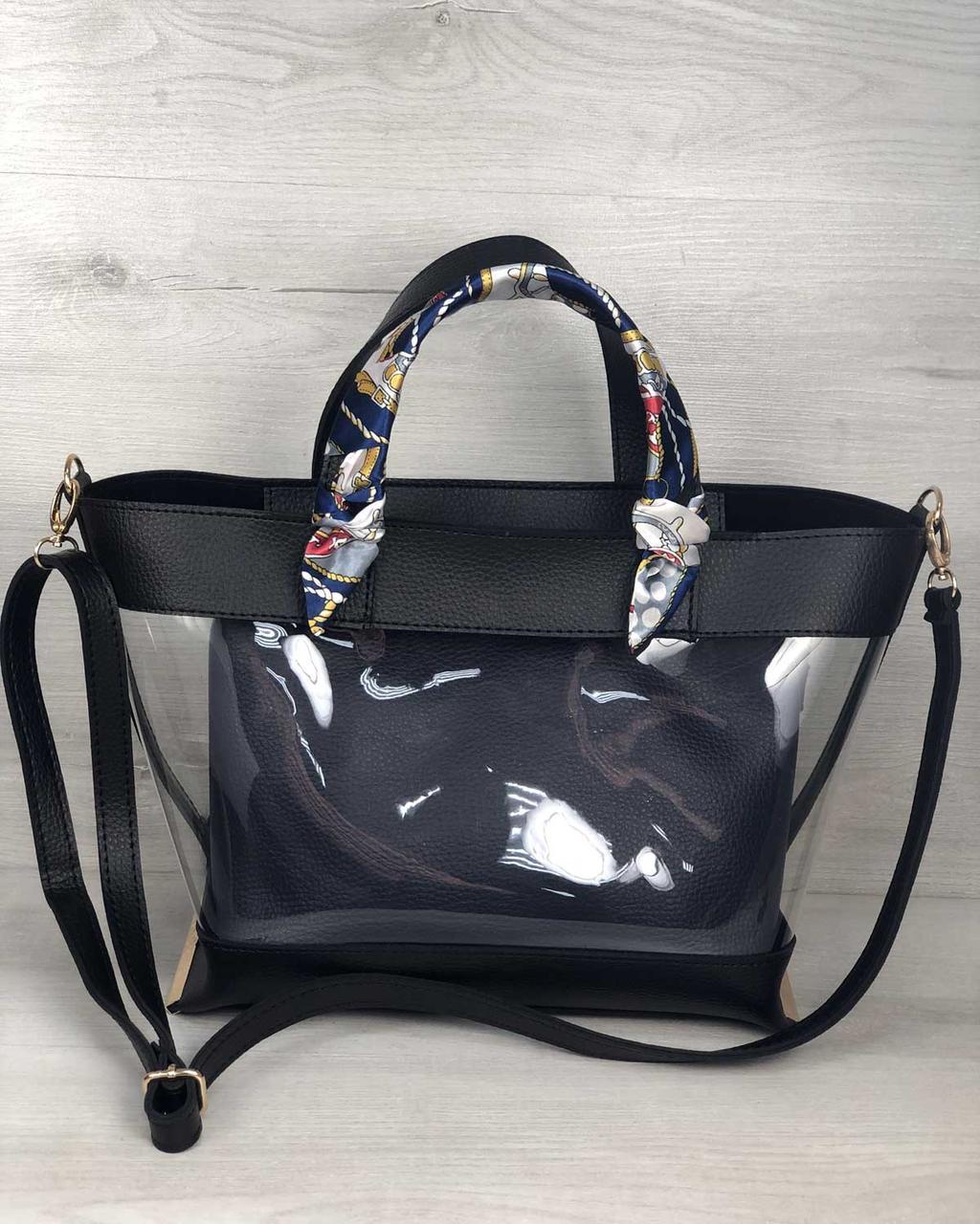 2в1 Молодежная сумка Амира черного цвета с силиконом и синей косметичкой