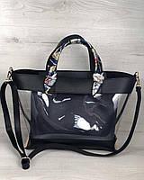 2в1 Молодежная сумка Амира черного цвета с силиконом и синей косметичкой, фото 1