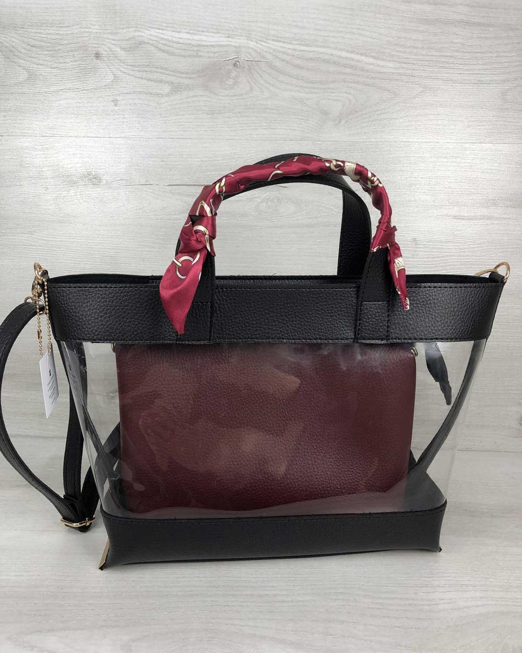 2в1 Молодежная сумка Амира черного цвета с силиконом и бордовой косметичкой