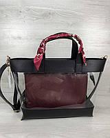 2в1 Молодежная сумка Амира черного цвета с силиконом и бордовой косметичкой, фото 1