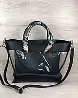 2в1 Молодежная сумка Амира черного цвета с силиконом и зеленой косметичкой, фото 1