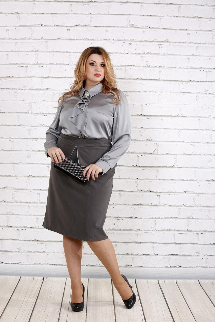 Сталева шовкова блузка великого розміру 42-74.   0750-1