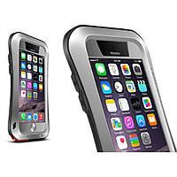 Чехол противоударный Love Mei Gorilla Glass для Apple iPhone 6 6S Plus серый