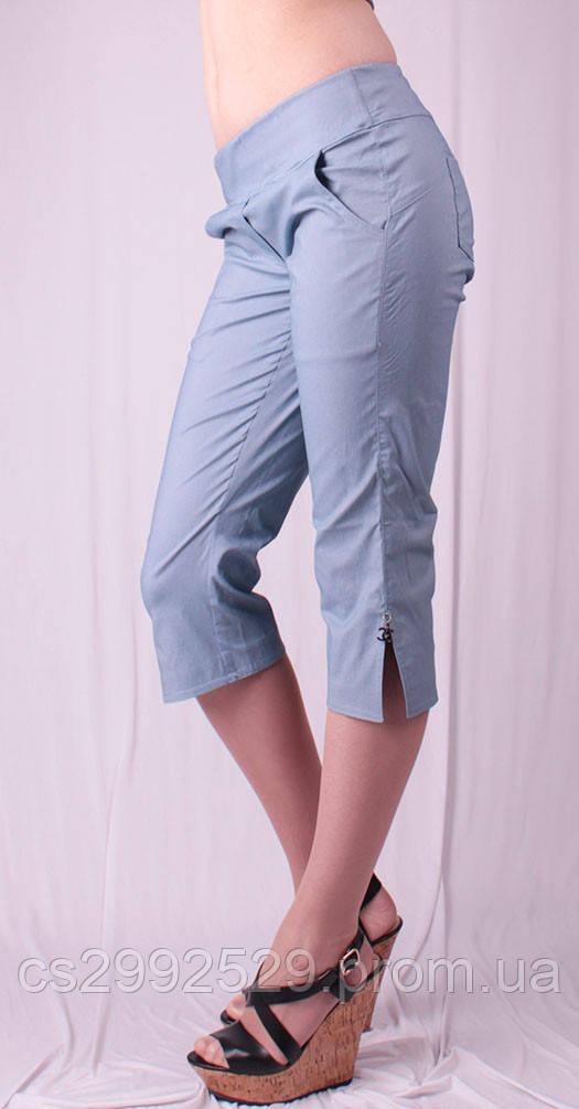 Бриджи женские с разрезами на штанинах, джинс
