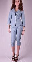 Бриджи женские с карманами, джинс, фото 2