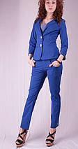 Капри женские с карманами под пояс, синий, фото 2