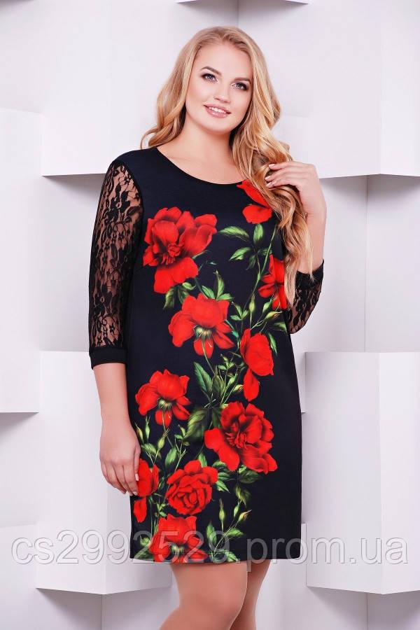 Алые розы платье Гардена-2Б д/р принт