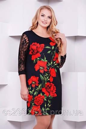 Алые розы платье Гардена-2Б д/р принт, фото 2
