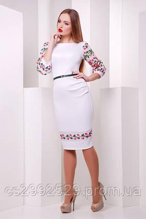 Цветы-орнамент платье Андора-Б д/р белый, фото 2