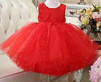 """Детское нарядное пышное платье с бантом """"Марго красное"""" для девочки на 5 - 7 лет"""