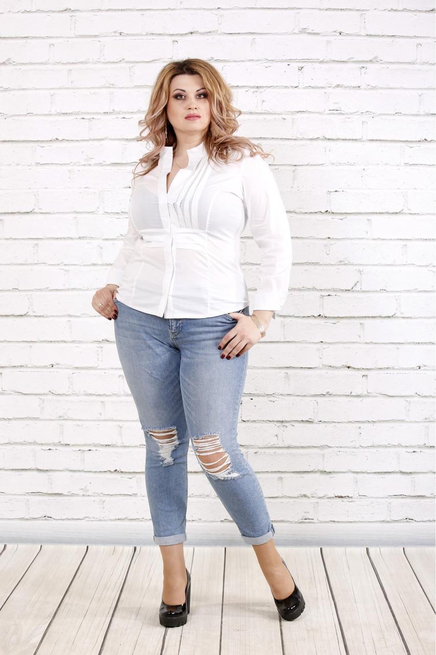 Белая блузка большого размера    0787-1
