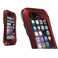 Чехол противоударный Love Mei Gorilla Glass для Apple iPhone 6 6S Plus красный