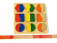 Деревянная игрушка Геометрик Вкладки Половинки, фото 1