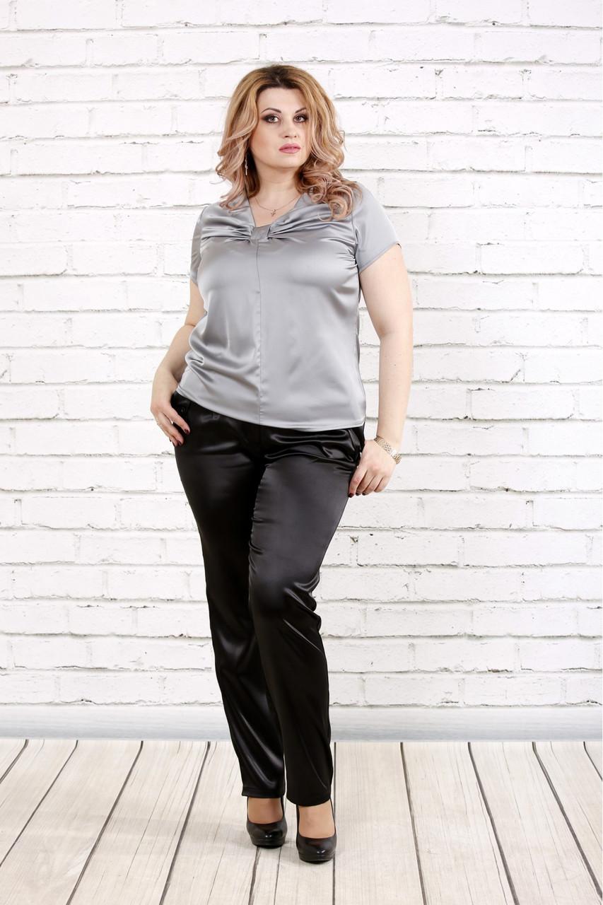 Блузка шелковая серая  с коротким рукавом | 0789-2 большого размера
