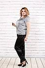 Блузка шелковая серая  с коротким рукавом | 0789-2 большого размера, фото 2