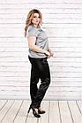 Блузка шелковая серая  с коротким рукавом | 0789-2 большого размера, фото 3