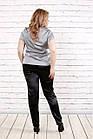 Блузка шелковая серая  с коротким рукавом | 0789-2 большого размера, фото 4