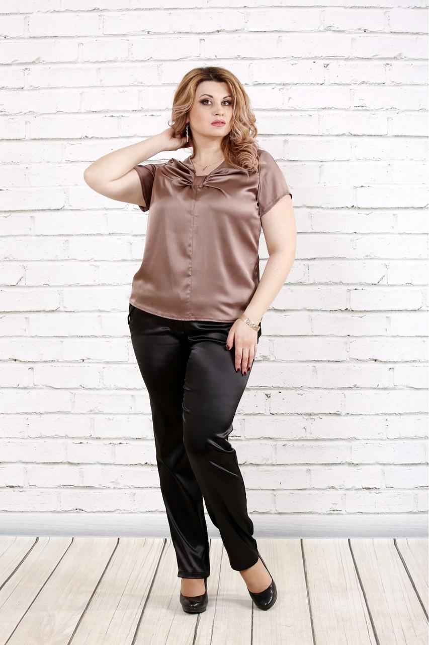 Кавова блуза з шовку | 0789-3 великого розміру