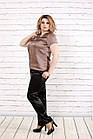 Кавова блуза з шовку | 0789-3 великого розміру, фото 2