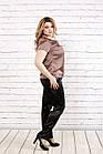 Кавова блуза з шовку | 0789-3 великого розміру, фото 3