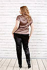 Кавова блуза з шовку | 0789-3 великого розміру, фото 4
