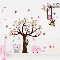 """Наклейка на стену в детскую детский сад """"африканские звери возле дерева с совами"""" 1м30см*3м (5 листов 30*90см)"""