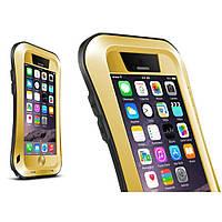 Чехол противоударный Love Mei Gorilla Glass для Apple iPhone 6 6S Plus золотой