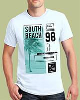 0001-TSRA-150-WH    Мужская футболка «SOUTH BEACH FLORIDA». Белая