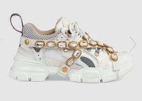 Белые кроссовки GUCCI Флеш трек ' Flashtrek ' со съемным декором Гуччи Дропшиппинг с камнями