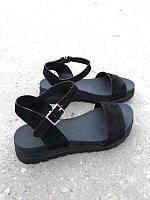 Черные босоножки без каблука замшевые ZS0027