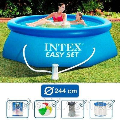 Надувной бассейн INTEX 28112 + ФИЛЬТР-НАСОС; размер 244х76см;   обьем воды 2419
