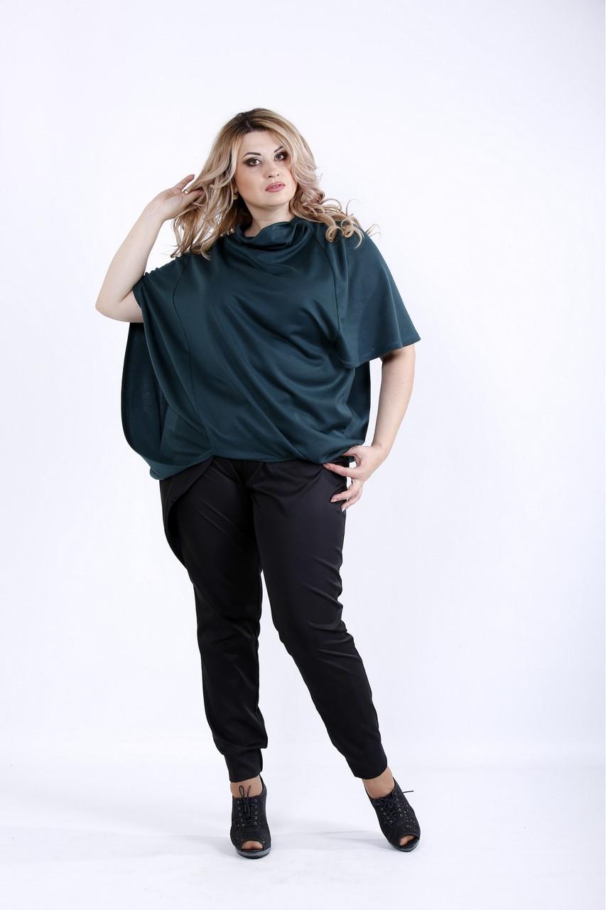 0889-2 | Свободная зеленая блузка из трикотажа большого размера 0889-2