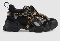 Черные  кроссовки GUCCI Флеш трек ' Flashtrek ' со съемным декором Гуччи Дропшиппинг с камнями