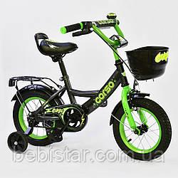"""Двухколесный детский велосипед черная рама ручной тормоз звоночек корзинка Corso 12"""" деткам 3-4 года"""