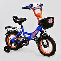 """Двухколесный детский велосипед голубая рама ручной тормоз звоночек корзинка Corso 12"""" деткам 3-4 года"""