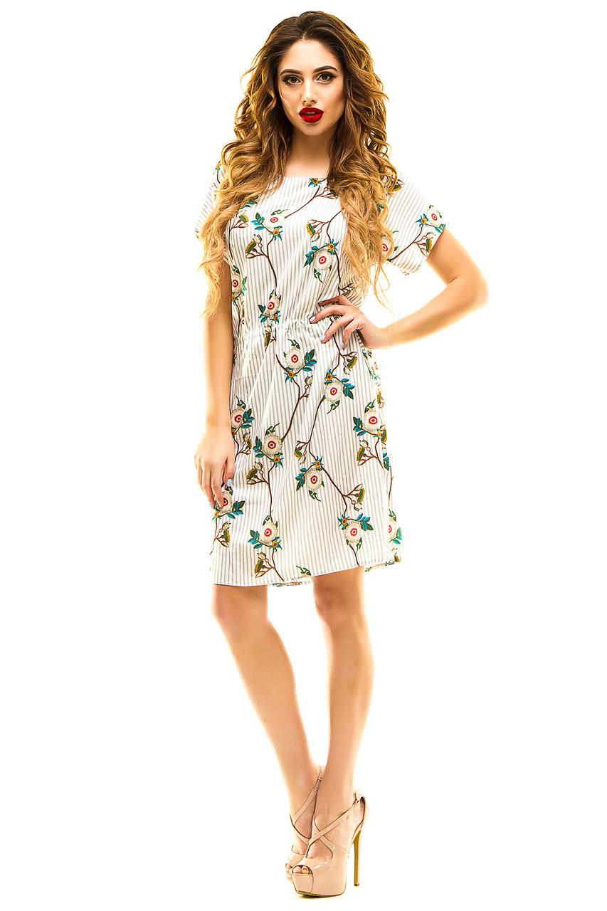 Платье 413 с кулиской серая полоска размер 50-52